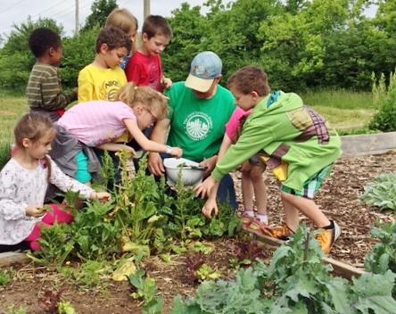 larry lettuce with kids portrait